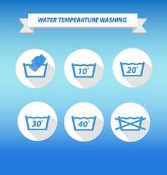 Water temperature washing by machine or hands vector
