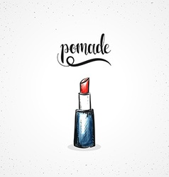 Stylish colored hipster fashion lipstick handmade vector