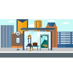 Woman waiting for bus vector image