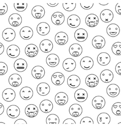 Outline round smile emoji seamless pattern vector