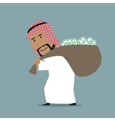 Arabian businessman carrying full money bag vector