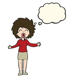 Cartoon loud woman with thought bubble vector