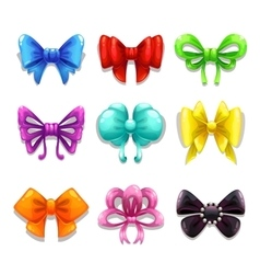 Colorful bows set vector image vector image