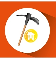 Construction pick axe icon graphic vector