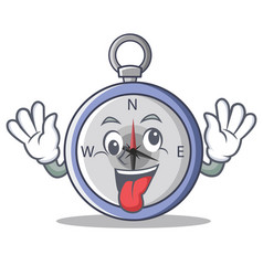 Crazy compass character cartoon style vector
