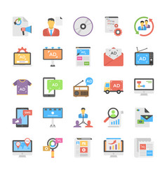 creative flat icon media and advertisement set vector image vector image