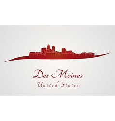 Des moines skyline in red vector