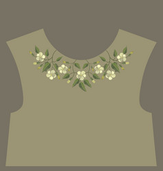 Embroidery floral neckline design vector