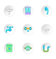 Equipment for bathroom icons set cartoon style vector
