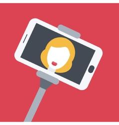 Flat design girl taking selfie with monopod vector image vector image