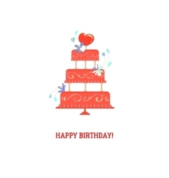 Floral birthday cake vector image vector image