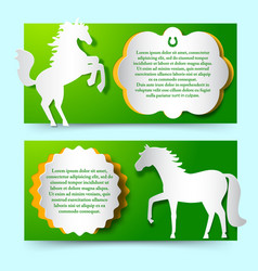 Green banners set with jumping white horse vector
