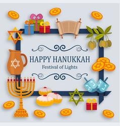 Hanukkah greeting card with torah menorah and vector