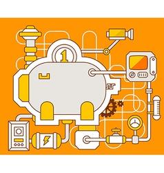 Industrial of the mechanism of bank pig vector