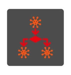 Infection replication rounded square button vector