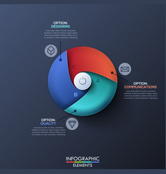 Infographic design template with circle divided by vector