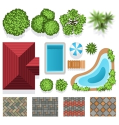 Landscape garden design elements top view vector