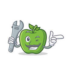 Mechanic green apple character cartoon vector