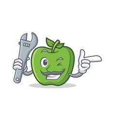 Mechanic green apple character cartoon vector