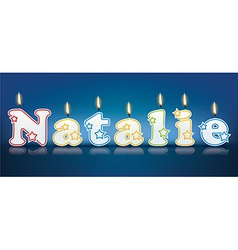 Natalie written with burning candles vector