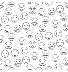 Outline round smile emoji seamless pattern vector