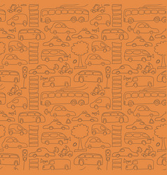 Seamless drawn transport pattern vector