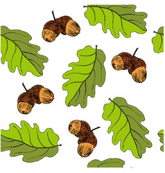 seamless pattern with oak autumn leaves and acorns vector image