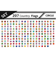 Set 207 country flag circle vector
