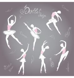 Set ballet dancers hand drawn background vector image