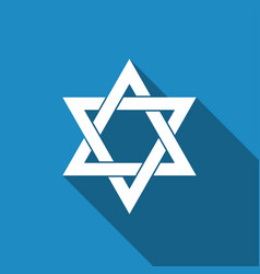 star of david icon isolated with long shadow vector image