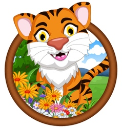 tiger cartoon in frame vector image vector image