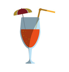 tropical cocktail with umbrella icon image vector image