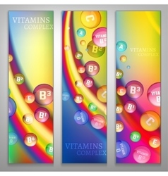 Vitamins rainbow banners vector