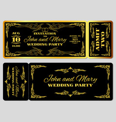 Wedding party invitation template in golden black vector