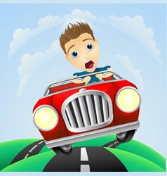 Young man driving fast classic car vector