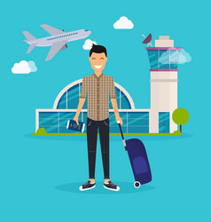 young man traveling with travel bag holding vector image