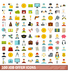 100 job offer icons set flat style vector
