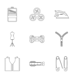 Tools for sewing dresses icons set outline style vector