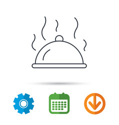 Restaurant cloche icon hot food sign vector