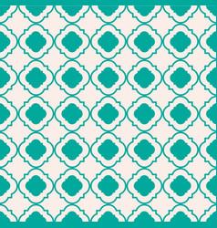 Mint green geometric quatrefoil trellis pattern vector
