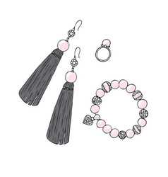 women jewelry earrings ring and bracelet with vector image