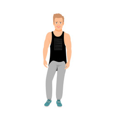 Strong guy in a t-shirt vector