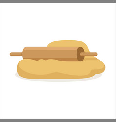 Fresh raw dough and rolling pin vector