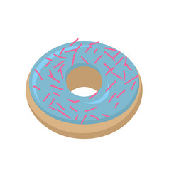 Vanilla donut isolated baking sweets on white vector