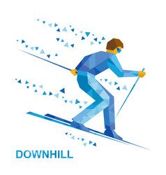 alpine skiing skier running downhill vector image