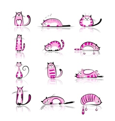 Funny pink cats collection for your design vector