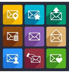 Mail Flat Icons Set 48 vector image