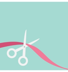 Scissors cut the ribbon on the left flat design vector
