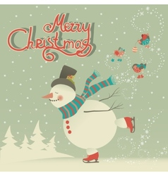Ice skating cartoon snowman vector