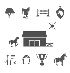 Grayscale horse icons on white background vector